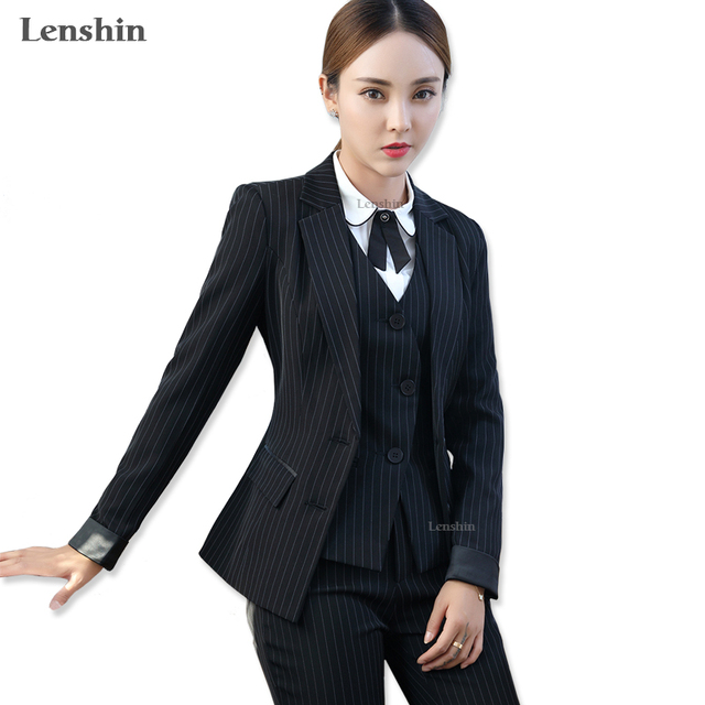 8eb39e87d82 Lenshin 3 Pieces Set Black Striped Vest Pant Suits Office Lady Formal  Business Uniform Designs Style Female Women Work Wear