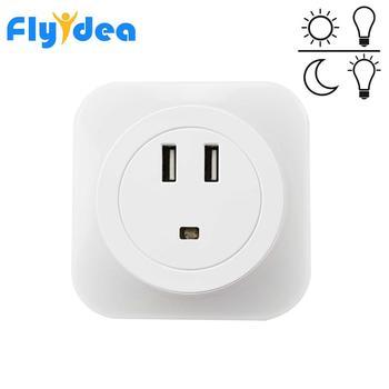 Mini luz con sensor inteligente Control LED luz de noche regalo de bebé niños dormitorio inducción hogar lámpara de noche enchufe de Europa/EE. UU. 2 puerto de carga USB