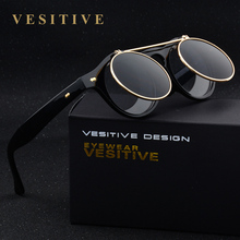 Vintage Sunglasses Steampunk Costume Geek Doctor Style Round Circle Clamshell lentes Flip Up oculos Clear Lens Eyewear