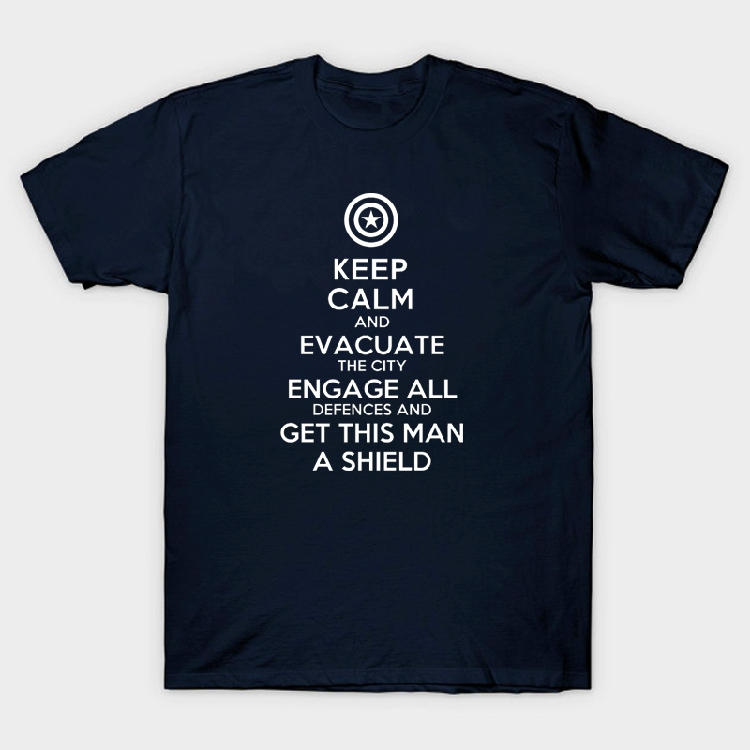 captain america shield keep calm evacuate the city engage all defences man boy o-neck cotton short-sleeve T-shirt image