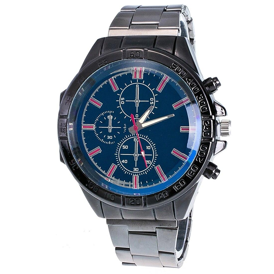 Men sport watches stainless steel three eyes analog quartz wristwatch military watch male business clock 2018 relogio masculino