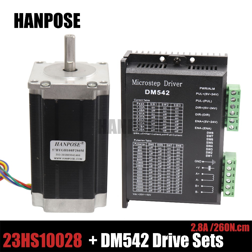 Stepper Motor 57BYGH Axis Stepper CNC Kit 2.8A 3.0Nm(425oz.in) Nema 23 & DM542 Driver 2M542 18 48 VDC Max for CNC