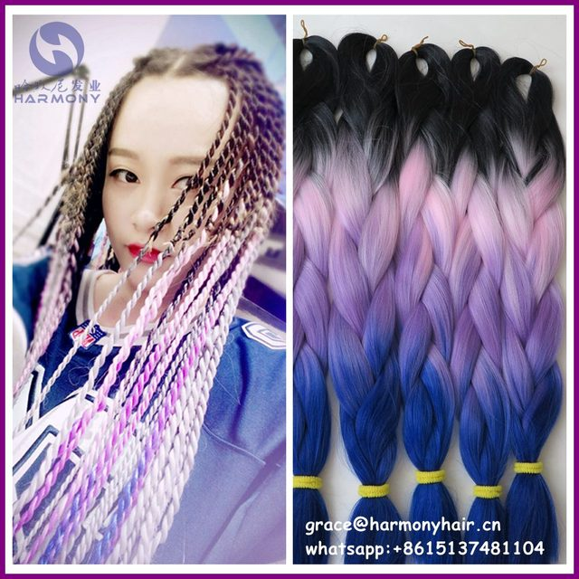 Free Shipping 4packs 24 100g Pink Purple Ombre Braiding Hair