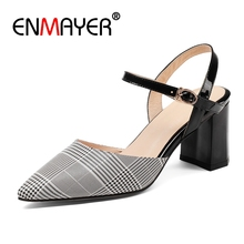 ENMAYER Synthetic Thin Heels Pointed Toe Casual Ladies Shoes Sandalia Feminina  Women High Heel Size 34-43 ZYL2752