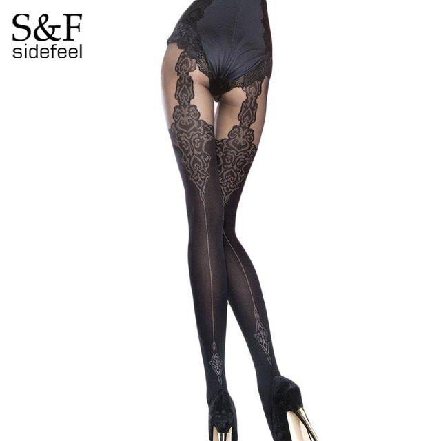 6d40bfc917 Sidefeel 40 Denier Mock liguero medias modeladas medias lencería Sexy ropa  interior mujer verano estilo erótico