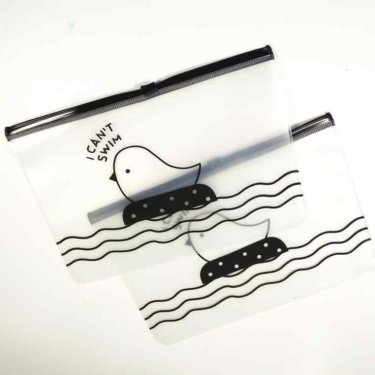 1 pçs/lote Kawaii Frango Simples saco do lápis Dos Artigos de Papelaria de armazenamento mini bolsa de arquivo Transparente grande PVC caixa de lápis caneta bolsa