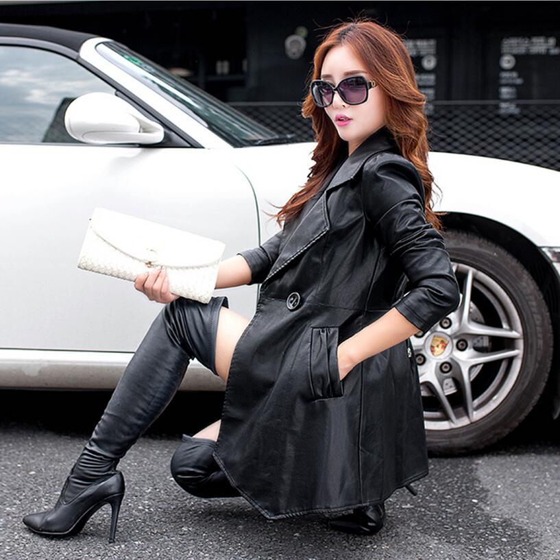 Printemps Paragraphe Gratuite m Livraison Automne En Noir 2xl Dans Femmes Pu Le Long Mince Et Manteau Grande vent Cuir Coupe Revers Taille BgWWvfAn