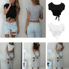 Crop Tops Sexy Casual t-shirt Women Front Tied Knot tee shirt femeal T shirt цены