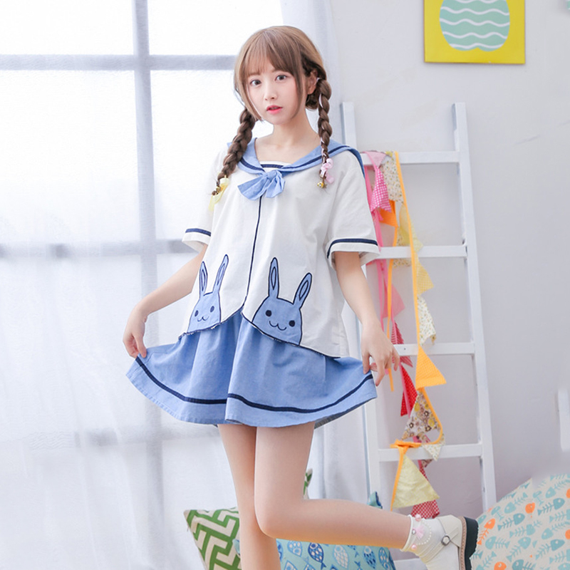 Japanese Style Cute Kawaii School Uniform Model Rabbit Sailor Suit Little Girl Wowen -7678