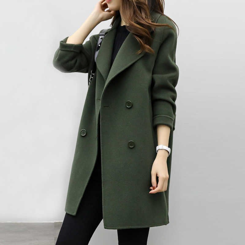 2018 New Womens Wool Blend Coat Turn Down Collar Slim Belt Double Breasted Coats Autumn Winter Elegant Female Overcoat