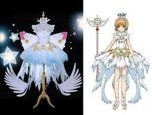 New Clamp Cardcaptor Sakura Kinomoto Clear Card OP Cosplay Costume Fancy Dress+Crown Halloween Adult Costumes for Women