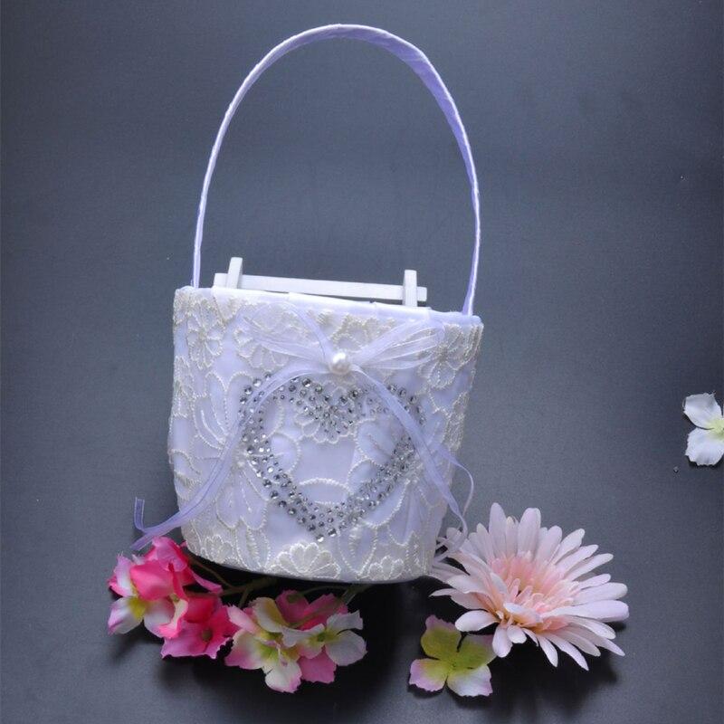 5 pièces/ensemble accessoires de décoration de mariage Satin anneau de mariage oreiller + panier de fleurs + livre d'or + ensemble de stylo + jarretière - 3