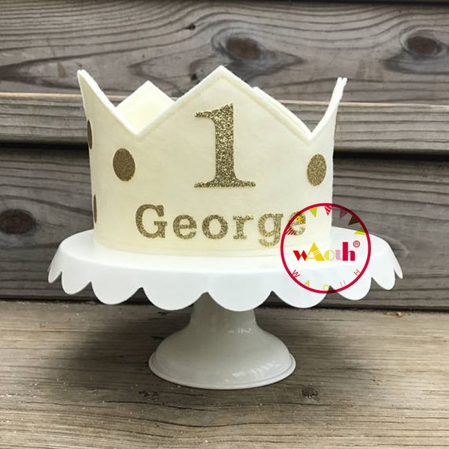 Can Customize The Name 1st Birthday Hat White And Gold Hat First Birthday Hat photo props royal Baby Boy Smash Cake Photo Prop