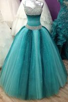 Пышные 2019 Дешевые Бальные платья бальное платье Спагетти бретели для нижнего белья тюль бисером кристаллы вечерние партии сладкий 16