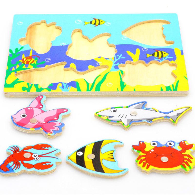 d juego de de juguete de pesca magntica de madera del cabrito del beb nios