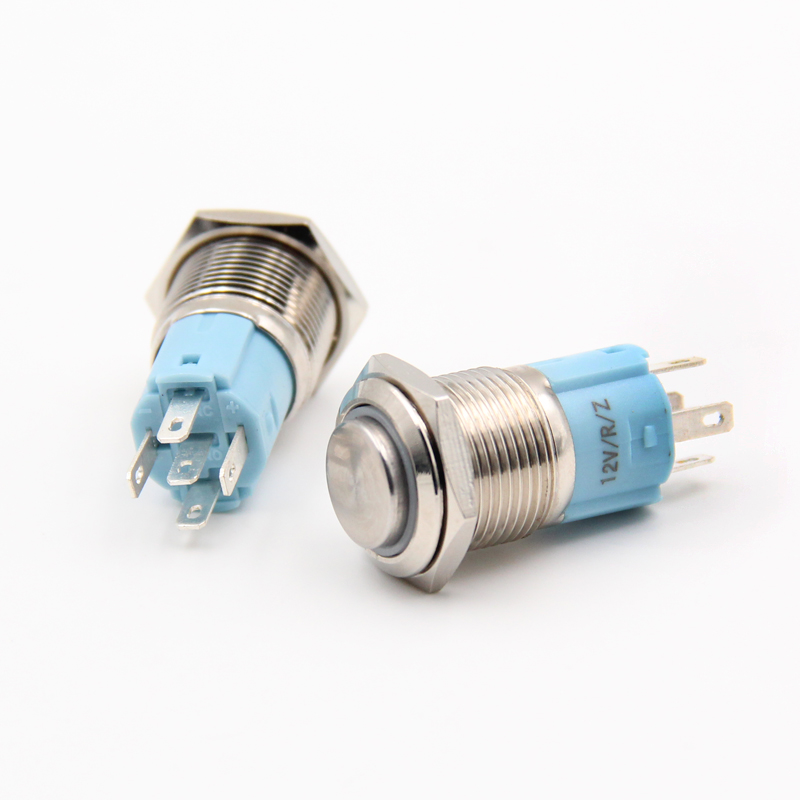 1PCS YT1073  16 mm Metal Push Button Switch Automatic Locking Switch With 5 Colors LED  220V     Convexity