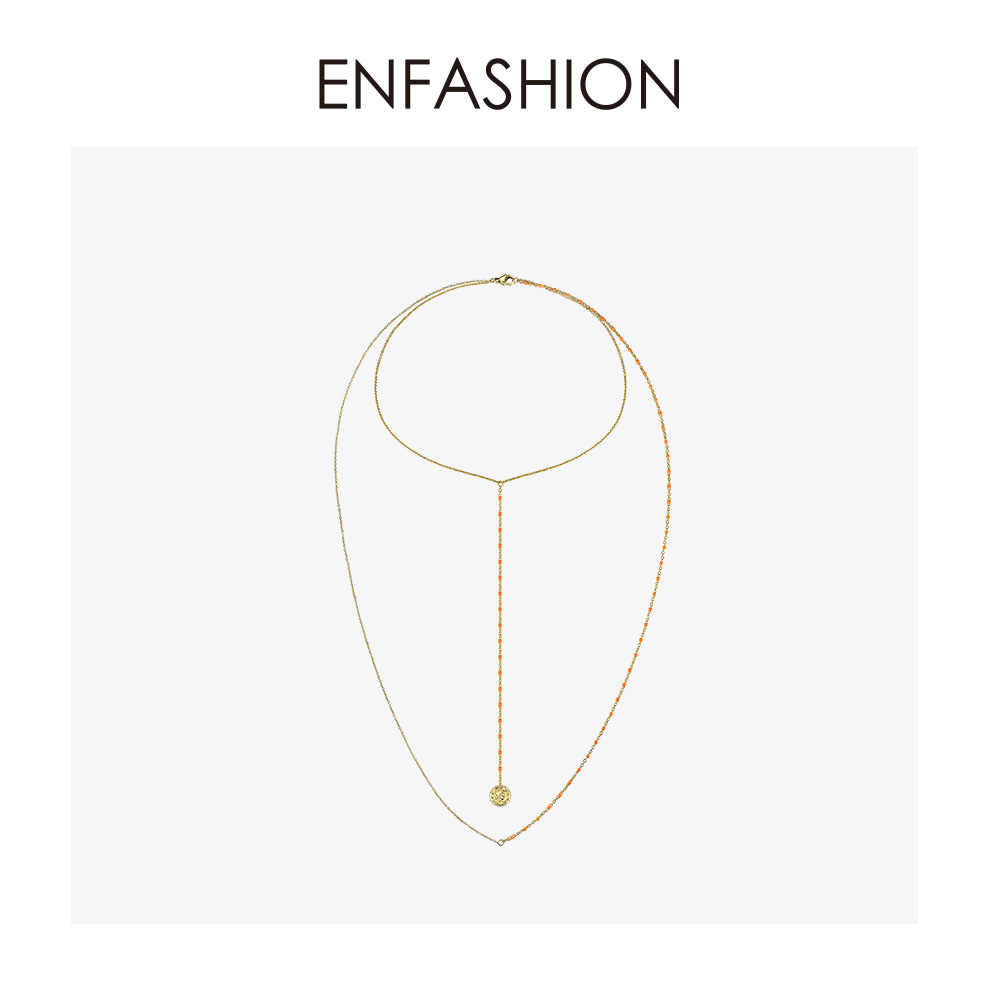 Enfashion Portrait Holiday Choker Necklace Women Gold Color Double Chain Long Necklaces Boho Jewelry 2019 Collares PM193006