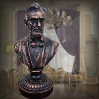 Abraham POTUS Figure Sculpture Bronze Colored Bust Statue Resin Crafts European Home Decoration R09