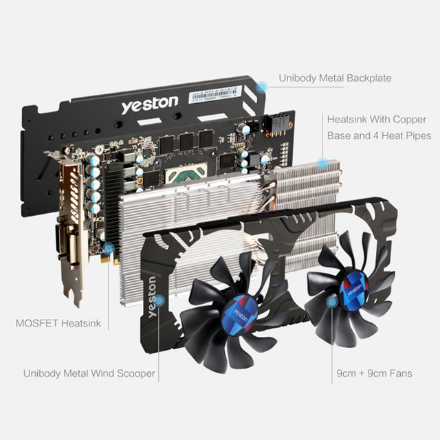 Yeston Radeon RX 570 GPU 4GB GDDR5 256 bit Gaming Desktop computer PC Video Graphics Cards support DVI/HDMI PCI-E X16 3.0 2