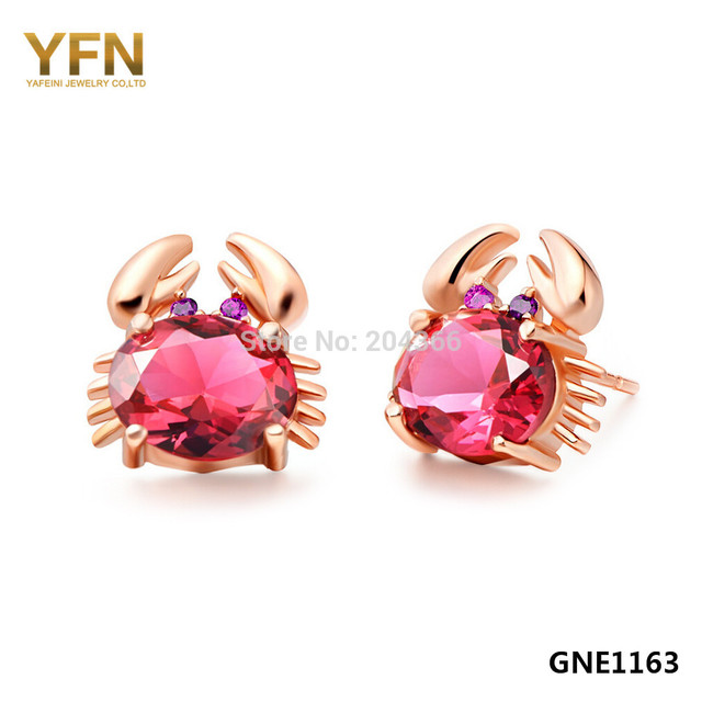 YFN Genuine 925 Sterling Silver in Gold Punk Style Red Big Crystal Crab Animal Stund Earrings For Women/Girls Best Gifts