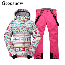 Gsousnow Professional Snowboard Women Ski Jacket Pant Set Winter Sports Coat Overalls for Female Thermal Windproof Sking Suit