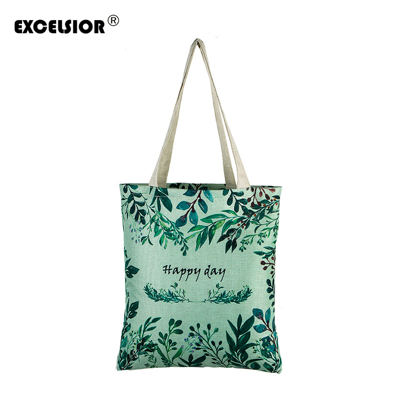 EXCELSIOR Floral Printed Canvas Tote Female Single Shopping Bags Large Capacity Women Canvas Beach Bags Casual Tote Feminina casual floral printed neck tie