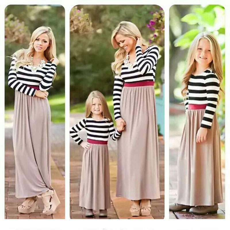 KAVKAS Mommy and me household matching mom daughter attire garments striped mother daughter gown youngsters mother or father baby outfits look Matching Household Outfits, Low-cost Matching Household Outfits, KAVKAS...