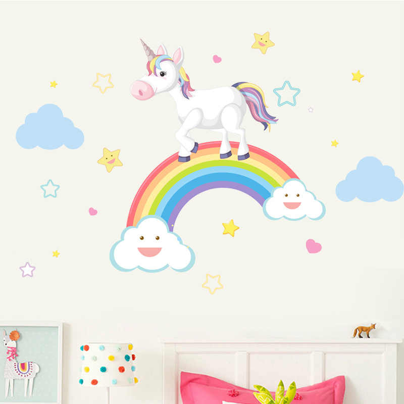Children's room wall stickers cartoon rainbow unicorn cloud stars home decoration girl baby bedroom DIY lovely animal stickers