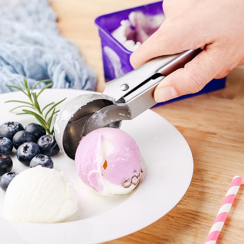Stainless Steel Ice Cream Scoop Water Melon Scoops Easy Trigger Ice Yogurt Cookie Scoop Dough Meat Balls Spoon Kitchen Tools (6)
