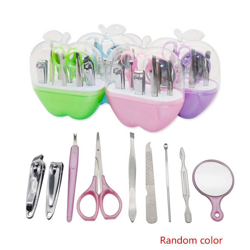 9 In 1 Nail Clipper Kit Nail Care Set Pedicure Scissor Mirror Ear Pick Manicure Trimmer Set Tools With Case Random Color