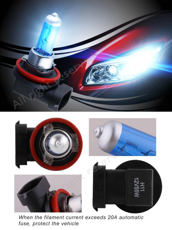 2pcs Headlight Halogen Led H11 H1 H3 H7 H4 9005 HB3 9006 HB4 9004 HB1 9007 HB5 Auto 55W DRL Fog Xenon Bulbs Light 12V