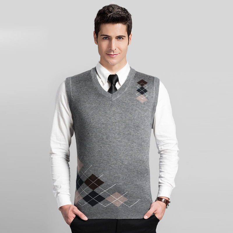 High Quality Men Cashmere Sweater Vest Male Casual V Neck Sleeveless Argyle Wool Sweater Pullover