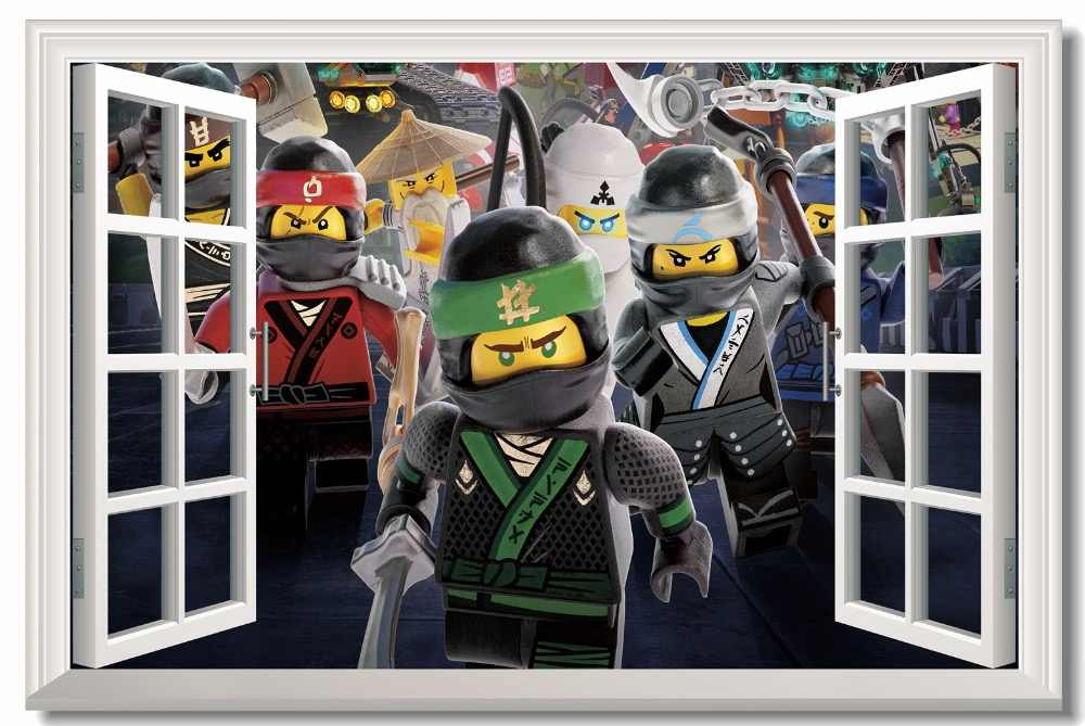 c9c1534fb3193 Custom Canvas Wall Mural Ninja Warriors Poster The Lego Ninjago Movie  Wallpaper 3D Window Stickers Kid