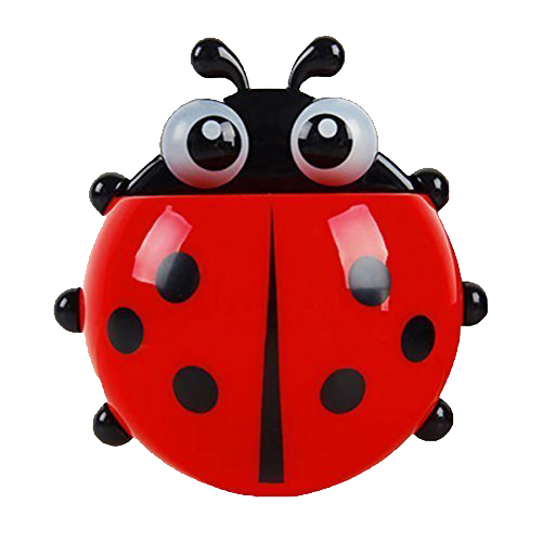 HGHO Lovely Ladybug Toothbrush Wall Suction Bathroom Sets Cartoon Sucker Toothbrush Holder / Suction Hooks Red image