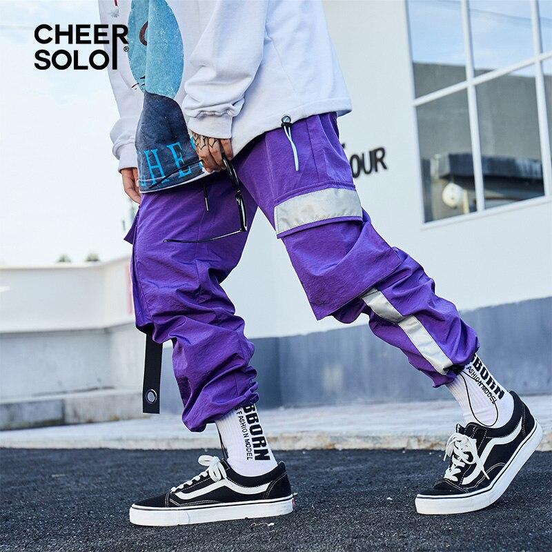 Cargo Pants Men Hip Hop Pockets Pants Ribbon Purple Sweatpants Loose Side Stripe Track Pants Streetwear Clothing