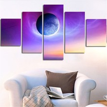 HD Printed On Canvas Wall Art Pictures Modern Home Decor Poster 5 Pieces Purple Planet Landscape Painting Modular Frame