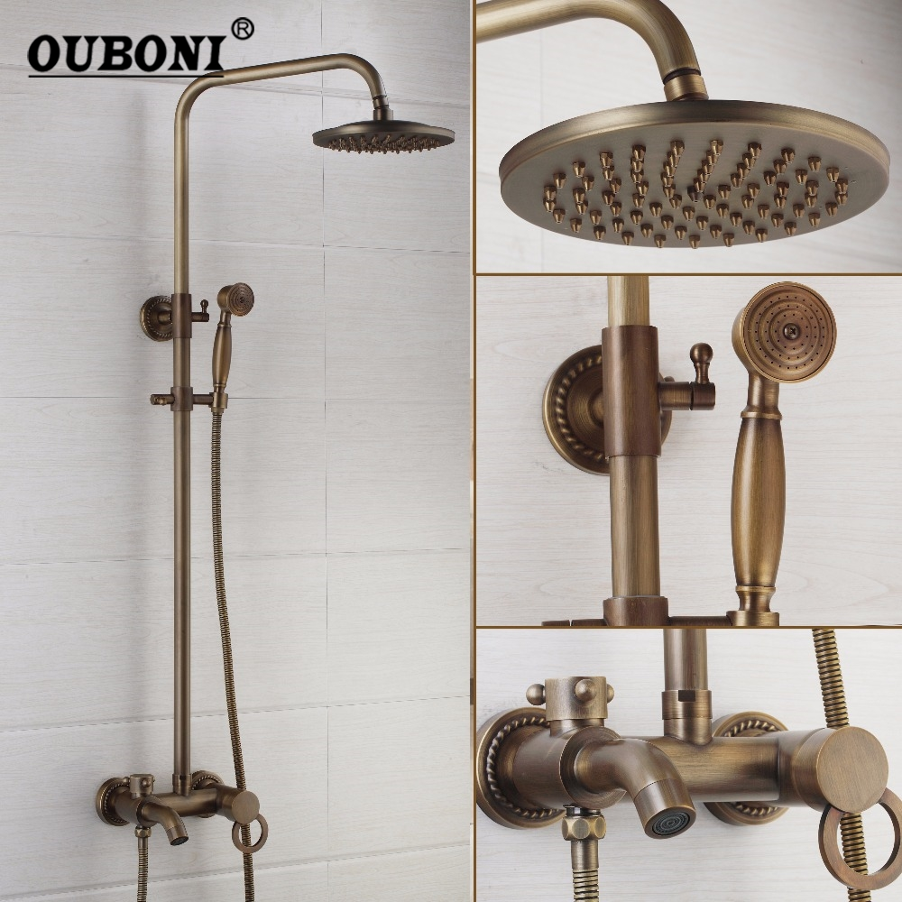 OUBONI 8 Inch Antique Brass Rainfall Head Shower Faucet Set Hand Shower 3 Functions Sprayer Wall Mounted Mixer Tap Mixer Sets ouboni modern rainfall