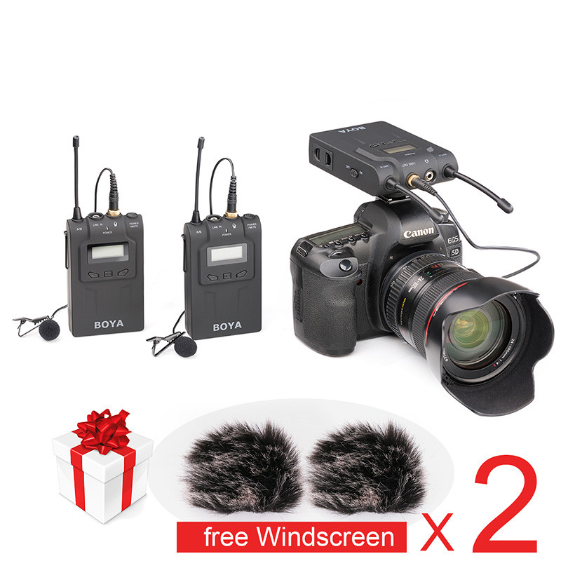 Ulanzi BOYA BY-WM8 UHF Dual Wireless Lavalier Microphone Systerm Lav Interview Mic 2 Transmitters 1 Receiver for DSLR Camera boya by whm8 professional 48 uhf microphone dual channels wireless handheld mic system lcd display for karaoke party liveshow