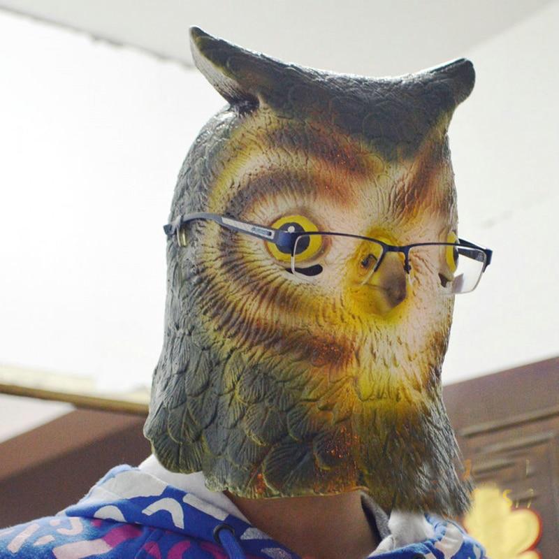 Plná hlava sova Latexová maska v dospělé velikosti roztomilé zvířecí simulace masky pro Halloween maškarní Cosplay a kostým  t
