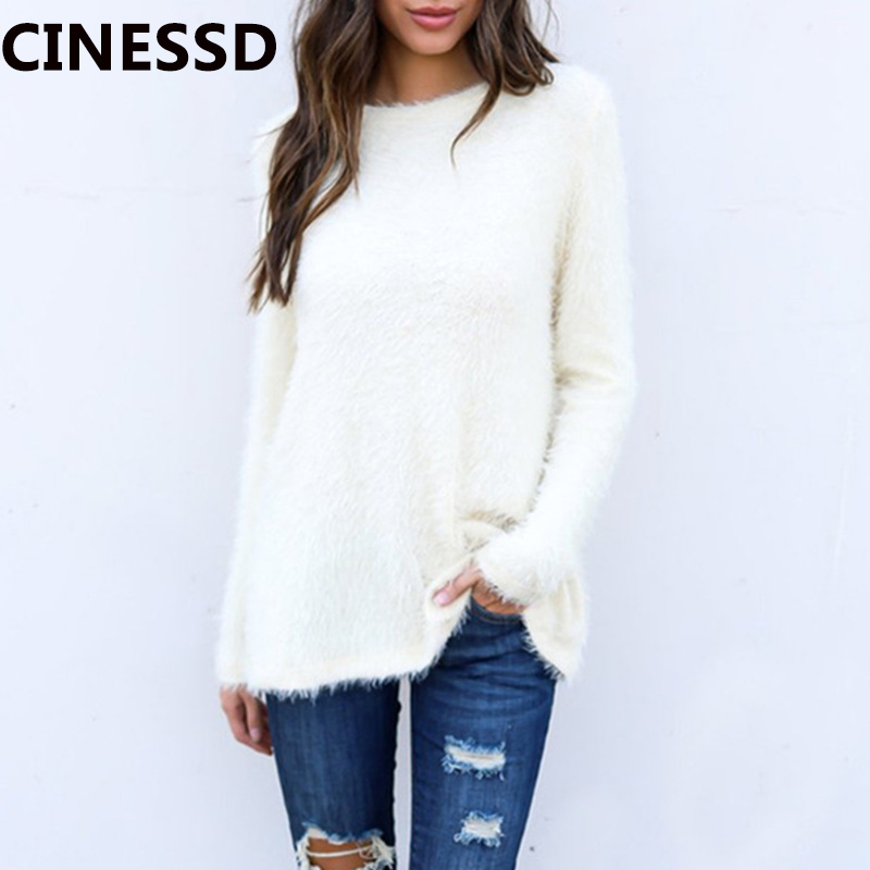 CINESSD Women Knitted Tops Sweaters White Round Neck Long Sleeves Solid Pullover Tunic Loose Wool Knitwear Sweaters Tee Shirts