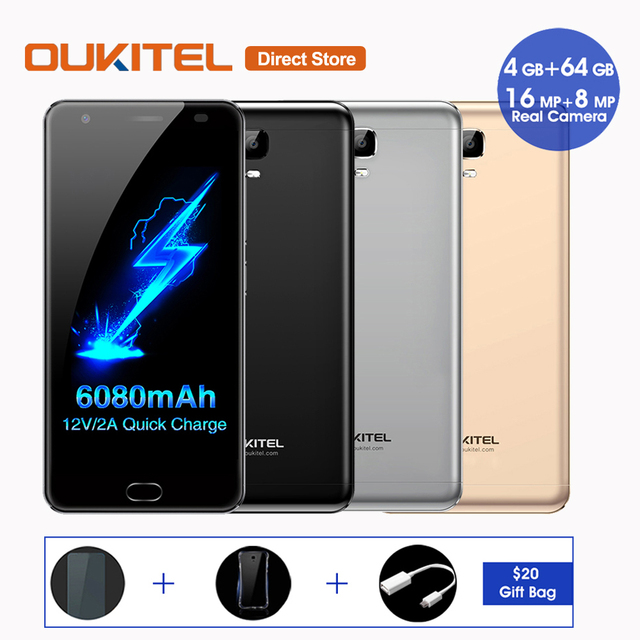 6080mAh OUKITEL K6000 Plus 4G Smartphone Android 7.0 MTK6750T Octa Core 4GB+64GB 16MP 12V/2A 5.5 Inch Fingerprint Mobile Phone