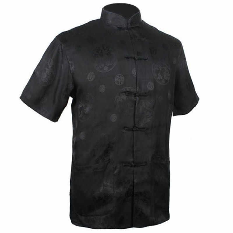 新しい黒メンズレーヨンサテンシャツトップ中国古典カンフー服半袖ヴィンテージファッション唐スーツsml xl xxl xxxl