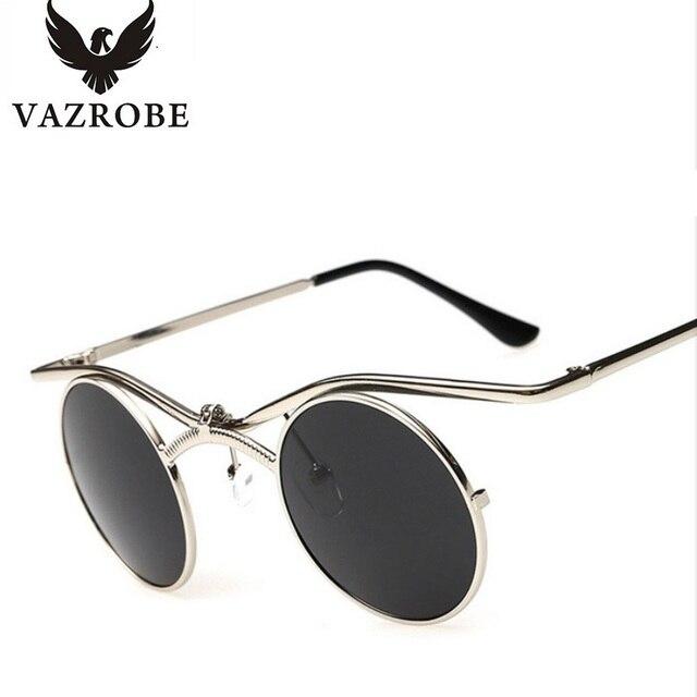 d55a1396d8 Vazrobe pequeña ronda Steampunk gafas de sol hombres mujeres arriba 80 s  vapor Punk gafas para