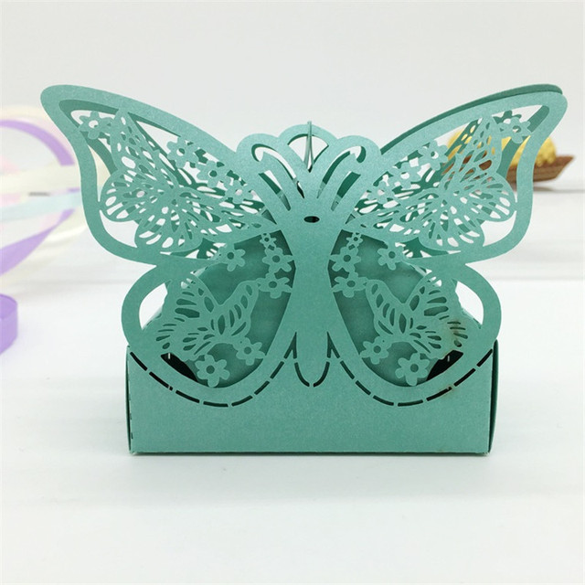 120pcs Butterfly Flower Wedding Candy Box Wedding Favors And Gifts
