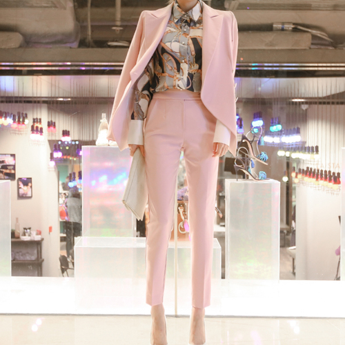 2008 Korean Version New Autumn Women Slim Waist Trousers Professional Two Piece Pink Women Suit Femme