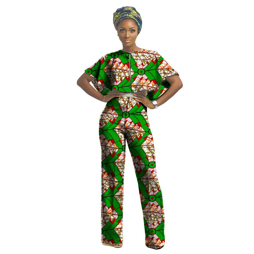 Nigerian style ghanaian fashion african print women dashiki set short top and pant personal customize designs of africa clothing