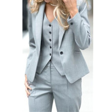2017 Pantalones Mujer Women Full Cotton Button Fly Ladies Custom Made Office Business Suits Jacket+pants+vest New Hot Tuxedos