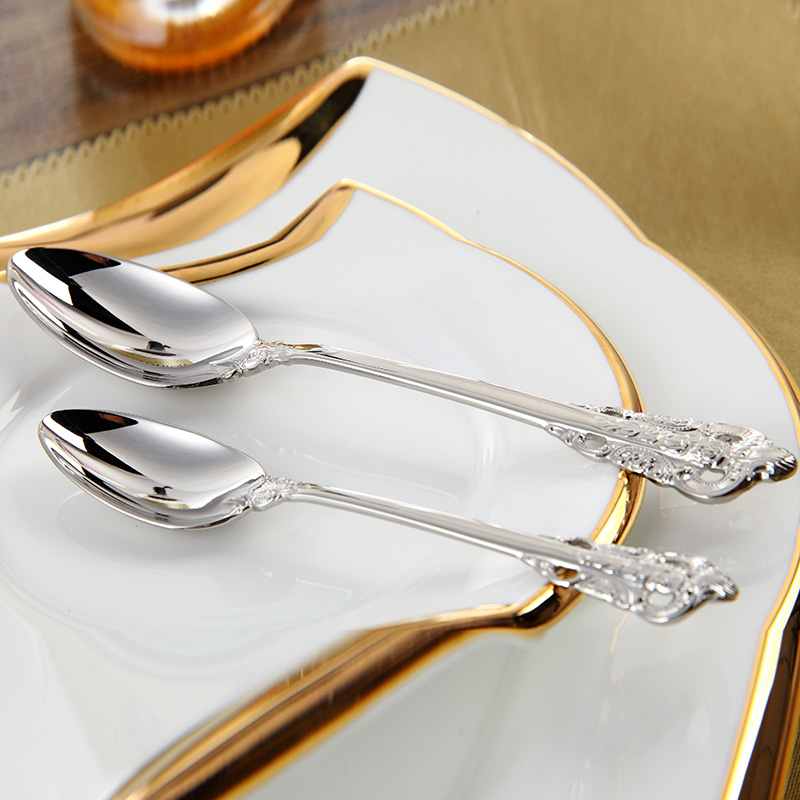 Cozy Zone Stainless Steel Cutlery Set Luxury Dinner Set 24 Pcs Restaurant Vintage Dinning Beautiful Dinnerware Set Knives Forks-in Dinnerware Sets from Home ... & Cozy Zone Stainless Steel Cutlery Set Luxury Dinner Set 24 Pcs ...