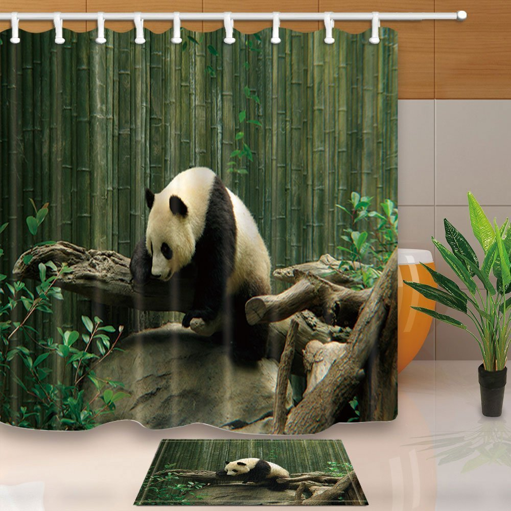 Wild Animal Decor,Safari Panda Playing on the Trunk Against Bamboo Mildew Resistant Polyester Fabric Shower Curtain Suit