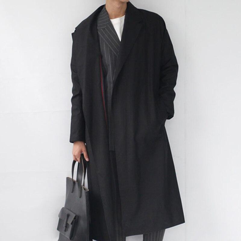 kaki 2016 Nouveau Aucun Laçage Manteau De Printemps Britannique Ultra Hommes Tranchée Mâle Paragraphe Vêtements Long Bouton Style Rallongent Costumes Noir fYb76gy